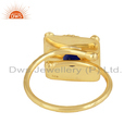 Natural Lapis Lazuli Gemstone Gold Plated Handmade Silver Ring Jewelry
