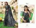 Grey Color Heavy Embroidery Georgette Saree