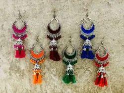 Darpan Imitation German Silver Designer Jhumka Earrings