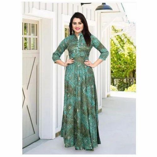 ff7f7d0341 Rayon Party / Festival / Casual Indian Green Beautiful Designer Kurti