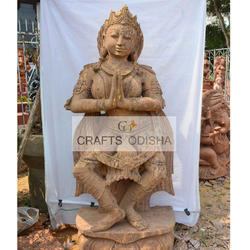 Stone Brown Sandstone Dancing Lady Standing Statue, for Interior Decor, for Exterior Decor