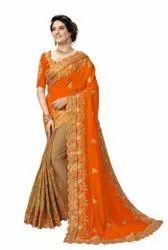 Wedding Wear Silk Heavy Embroidery Work Half & Half Saree(K810-Orange)