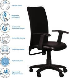 Mesh Back Staff Chair Metal Frame Cushioned Seat