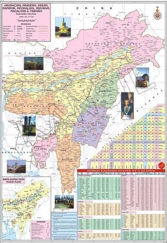 Multicolour Laminated Paper Assam N E States For Political Map