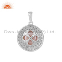 Zircon Natural Pink Pearl Gemstone Round Sterling Silver Pendants