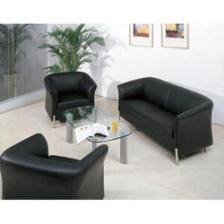 Black Leather Office Sofa