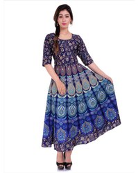 3/4th Sleeve Ladies Cotton Printed Frock