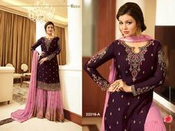 Women's Faux Georgette Sharara Suit Heavy with Embroidery Work