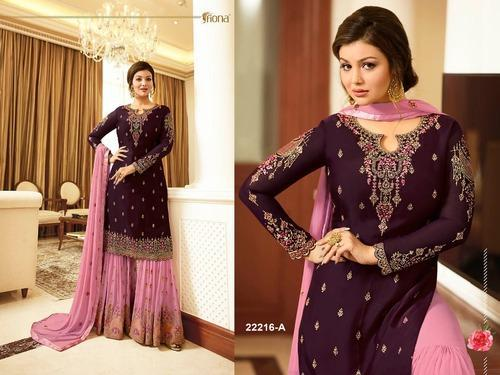 f39cfeec36 Women's Faux Georgette Sharara Suit Heavy with Embroidery Work at Rs ...