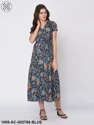 Ditsy Floral Print Navy Blue Maxi Dress For Women