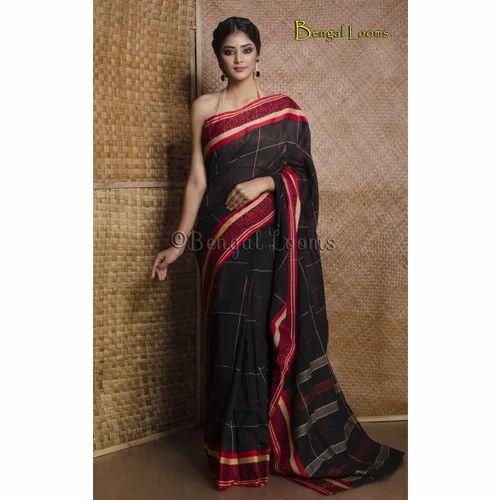 bc4ee2e904 Pure Handloom Khadi Soft Cotton Saree with Naksha Border in Black and Red