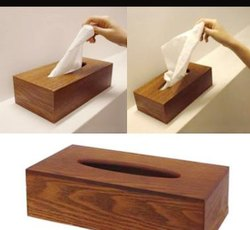 Brown Wood Tissue Paper Box