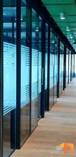 Plain Grid Office Glass Partition