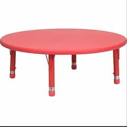 Red Kids Round Plastic Dining Table for School