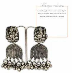 Traditional Plain Silver Oxidized Hoop Earrings Silver Jewelry