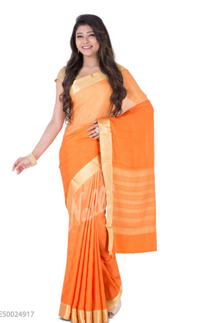 3c8718fe98e Orange Mysore Crepe Silk Saree