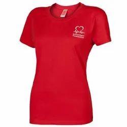 Half Sleeve Polo Ladies Red T Shirt