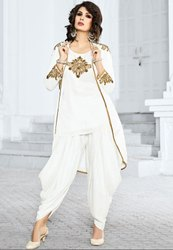 Stylish Snow White Dhoti Salwar Kameez Set