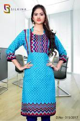 Blue and Pink Silk Georgette Uniform Kurti