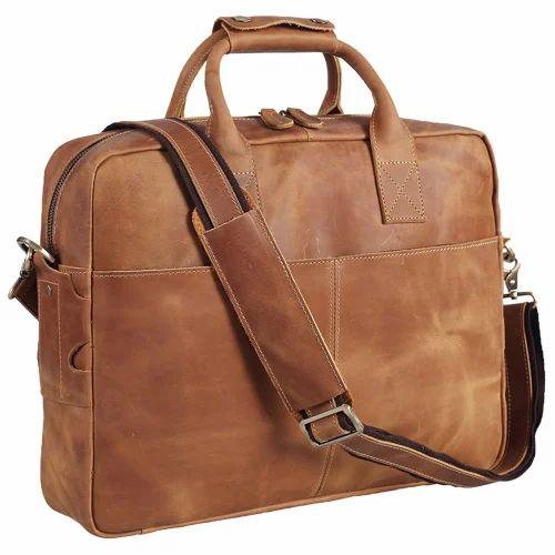 Brown Men  s Laptop Leather Bag