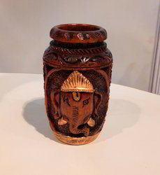 Ruralshades Carved Wooden Ganesha Vase