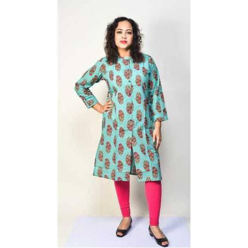 Full Sleeves Cotton Printed Kurti, Size: M, L & XL