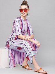 Purple Party Wear Printed Rayon Kurtis, Size: S,M,L,XL,XXL
