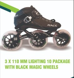 3 X 110 mm Lighting 10 Inline Skate Package With Black Magic Wheels
