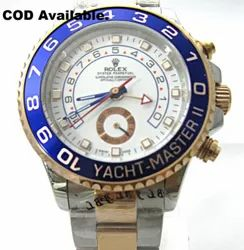 Silver And Rose Gold Rolex YACHT-MASTER 2 SWISS MADE Watch, Men