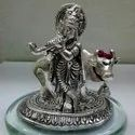 Silver Plated Krishna With Cow Showpice For Return Gifts