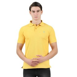 Cotton Polo Neck Mens Yellow T Shirt