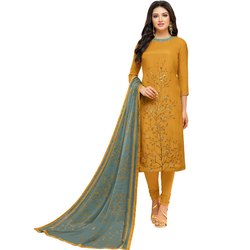 Rajnandini Mustard Chanderi Silk Embroidered Semi-Stitched Dress Material With Printed Dupatta