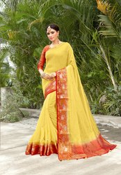 Linen Cotton Woven Saree With Jacquard Blouse, 6.3m