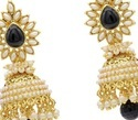 Gold Plated Black Stone Jhumka