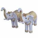 Elephants Fiber Statue