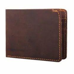 Tan Bi Fold Oil Pull Up Leather Wallet, Card Slots: 8
