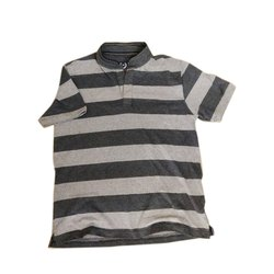 Half Sleeve Striped Mens Band Collar T-Shirts, Size: S-XL, Packaging Type: Packet