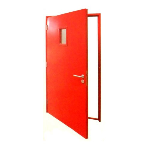 Red fire rated wooden door