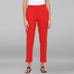 Janasya Women''s Red Pure Cotton Narrow Pant(BTM026)