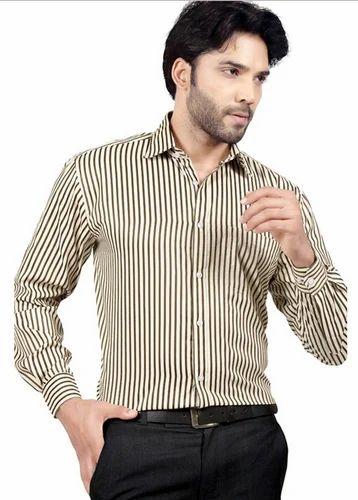 ae0c4b9383ee 42.0 TouchFrndz Brown Stripe Polyester And Cotton Regular Fit Formal Shirt