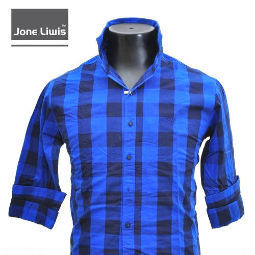 Mens Cotton Blue Check Shirt f2142caa3