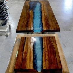 Natural Blue Rectangular Epoxy Live Edge Dining Table Top