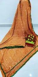 Casual Wear Block Printed Dabu Saree With Blouse Piece