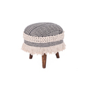 Wooden Upholstered Rug Round Stool