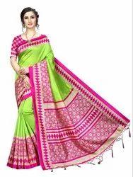 Banarasi Art Silk Party Wear Green Saree Blouse Piece