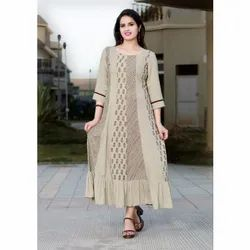 Ladies Round Neck Printed Cotton Kurti