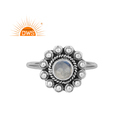 Fire Rainbow Moonstone Gemstone Oxidized Sterling Silver Rings