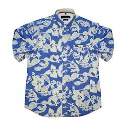 Printed Blue And White Designer Casual Shirt