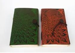 Colored Leather Cover Journal Peacock Design