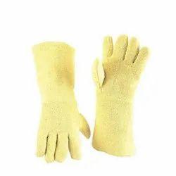 Yellow Sai Safety Leather Safety Gloves, Size: Medium